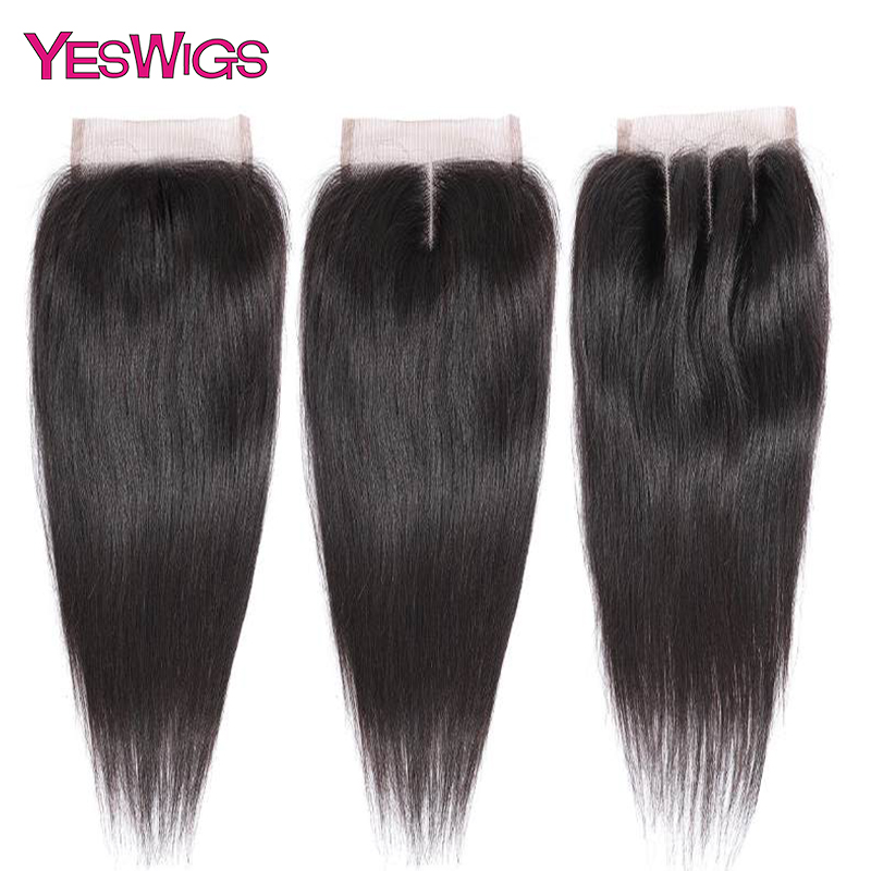Yeswigs Hair 4x4 Lace Closure Brazilian Straight Frontal Closure 100% Remy Human Hair Closure Natural Color Free Middle Part