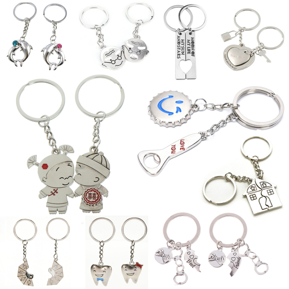 1 Pair Couple Keychains Bottle Beer Cap Couple Keychain Lovers BBF Cute Key Ring Holder Love Heart Best Friends Gift