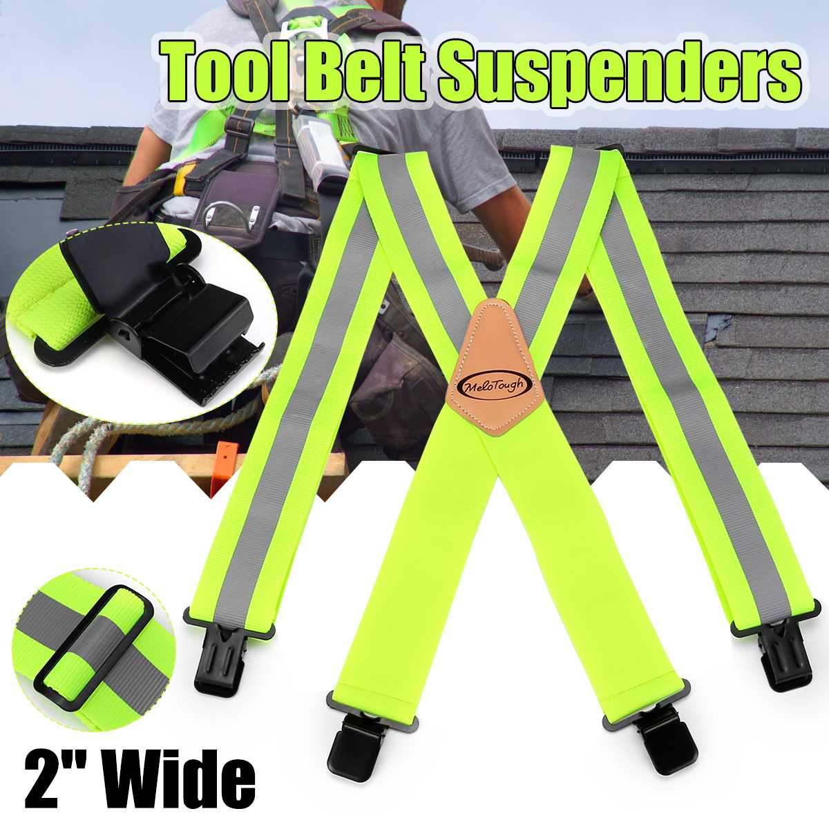 Fluorescent Green Ruler Design Men Suspenders Classic X Shaped 4 Clips Tool Belt Suspenders Men Trousers Suspenders Adjustable