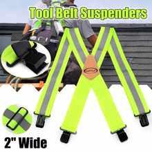 Tirantes con diseño de regla verde fluorescente para hombre, herramienta de 4 Clips con forma de X clásica, tirantes de cinturón, pantalones ajustables