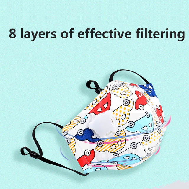 Children Mask Washable Respirator 8 Layer Safety Protection Cotton Activated Carbon Anti Flu Kids Face Mask Anti Dust PM2.5 3