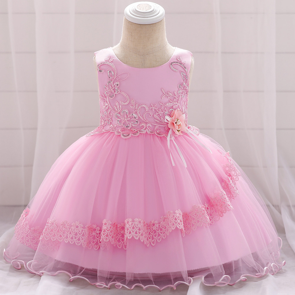 Baby Girls Lace Flower Party Wedding Birthday Princess Tutu Dress Christening