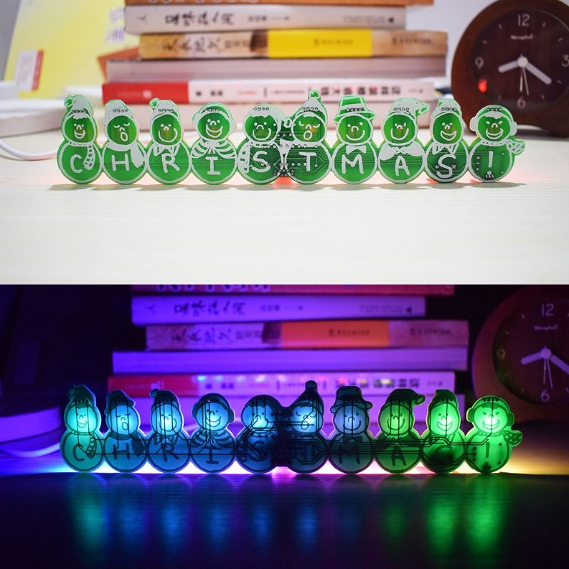 New DIY Full Color LED Flashing Christmas Snowman Music Box 14 Songs Backlight Decor image