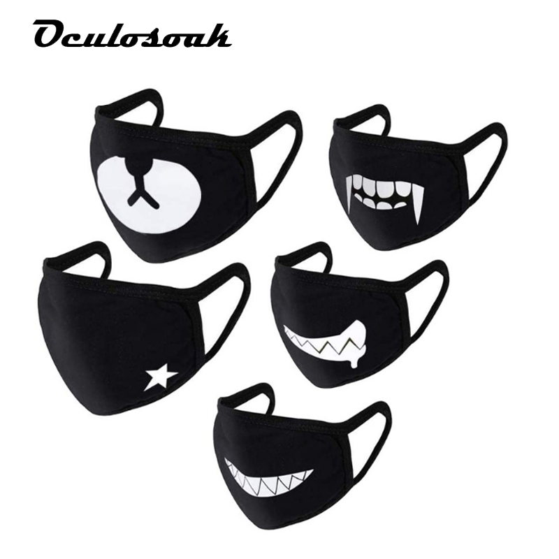 Personalized Expression Mouth Funny Black Emoji 3D Color Printing Dustproof Fashion Ice Silk Fabric Can Be Washed