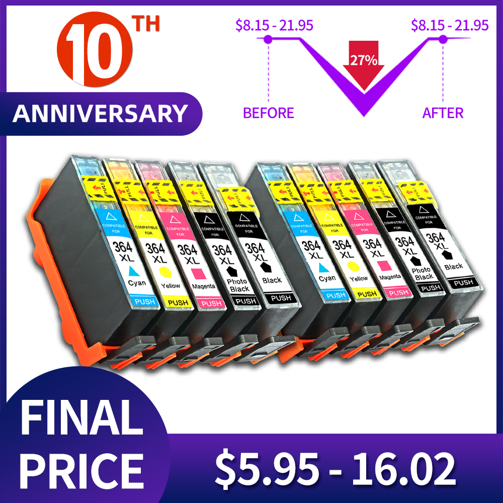 QSYRAINBOW Printer Ink Cartridge 364XL HP 364 XL Replace For HP Photosmart 5510 5515 6510 B010a B109a B209a Deskjet 3070A HP364