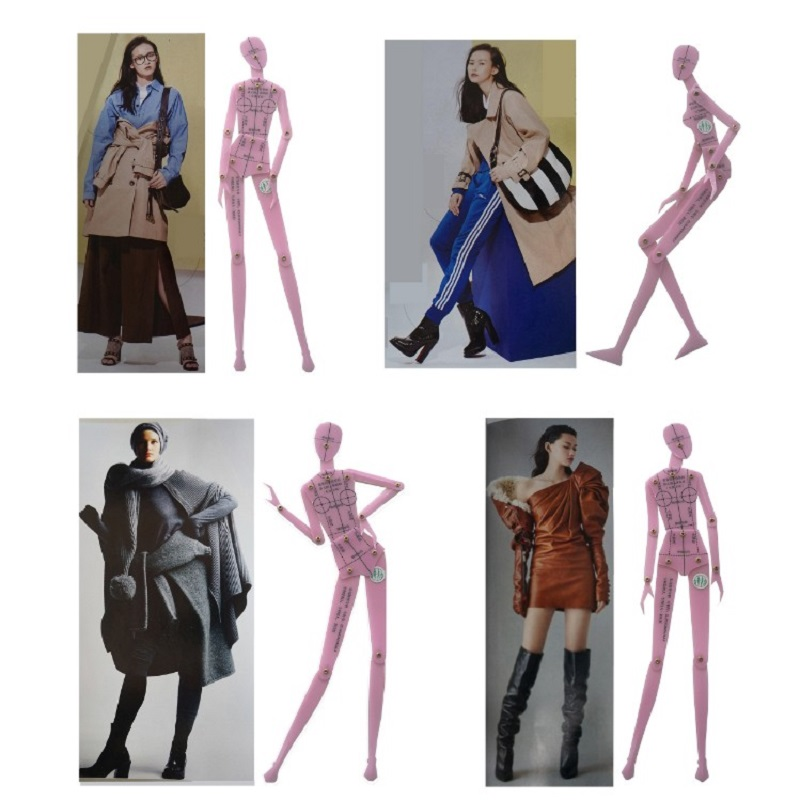 Fashion Drawing Ruler Garment Design of Human Body Dynamic Hand Drawing Template Ruler Women Effect Drawing Style