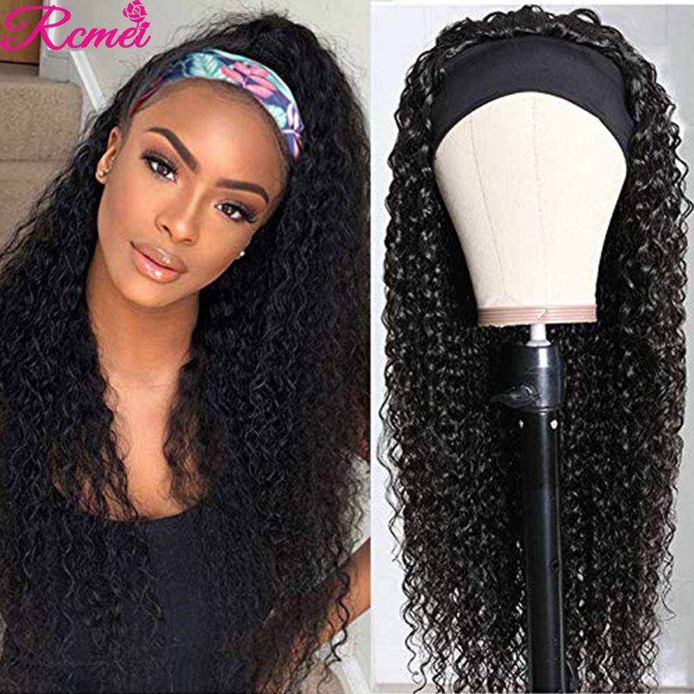 Kinky Curly Human Hair Headband Wig Brazilian Headband Human Hair Wigs For Black Women Remy Hair Machine Made Wig 150 %