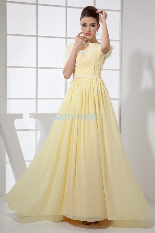 Free Shipping 2016 Hot Sale Long Beach Formal Muslim Dress Evening Gowns Custom Made Size/color Half Sleeve Yellow Evening Dress