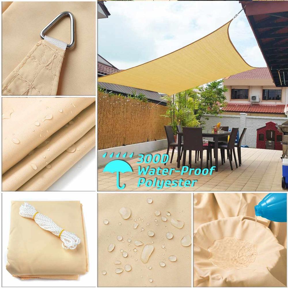 300D Waterproof Sun Shade Polyester Square Rectangle Shade Sail Garden Shelter Canopy Swimming Camping Hiking Yard Sail Awning