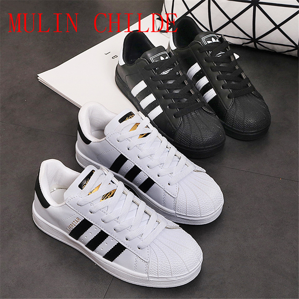 US $19.5 50% OFF 2020 Large size EU 36 44 original Classic Men 's Shoes For Women' s Shoes White Laser Dazzle see Superstar Shell Head Sneakers on