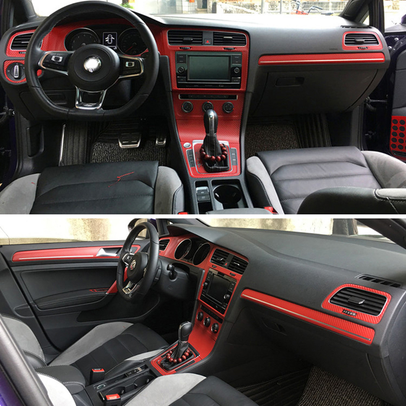 Interior Sport Red Carbon Fiber Protection <font><b>Stickers</b></font> Fibra Decals Auto Car styling For <font><b>VW</b></font> Volkswagen <font><b>Golf</b></font> <font><b>7</b></font> MK7 GTI Accessories image