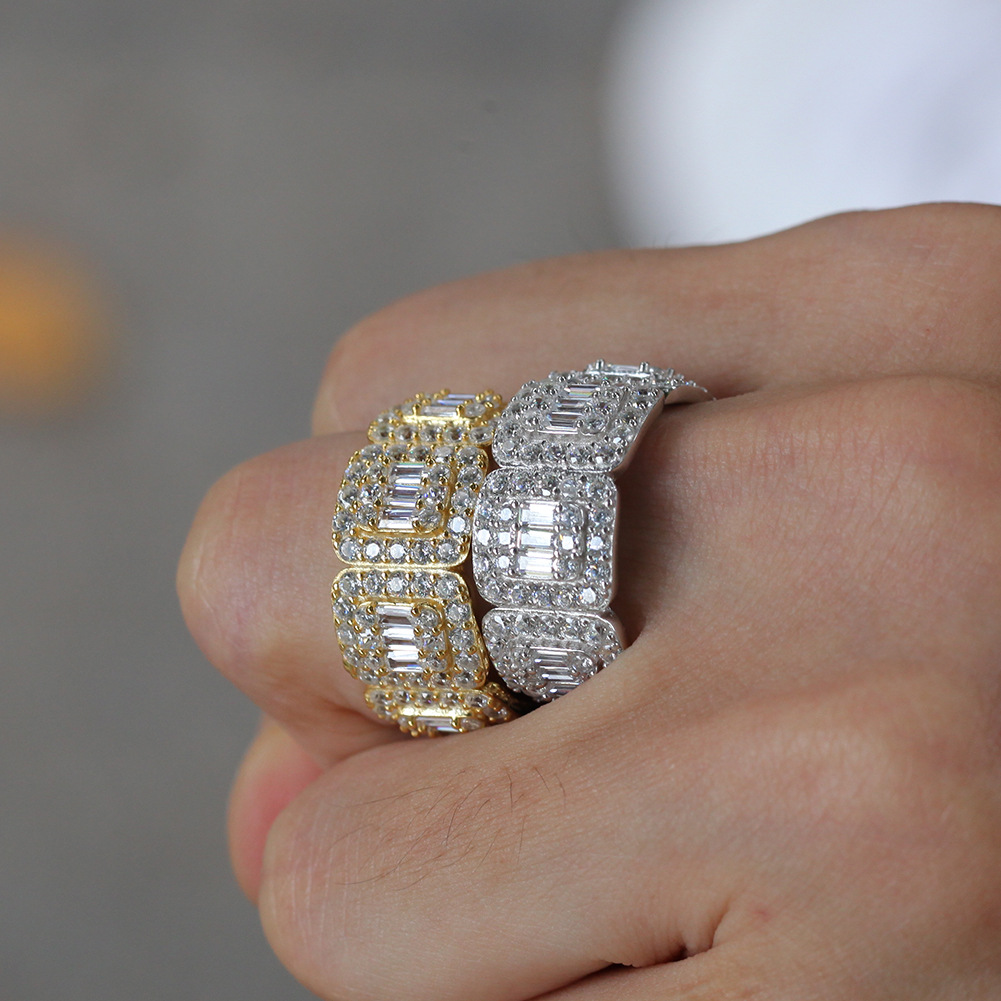 Custom Design Popular luxury hip hop Jewelry iced out brass bling ring wedding Ring