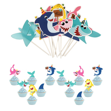 12pcs Shark babies Lovely Cartoon Whale Cake Topper Dessert Childrens Day Decoration for Boy Birthday Party Gifts