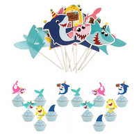 12pcs Shark babies Lovely Cartoon Whale Cake Topper Dessert Children's Day Decoration for Boy Birthday Party Lovely Gifts