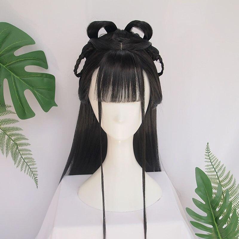 Vintage wig Ancient Chinese Wig Braids of hair Long straight black hair Air bangs Modelling wig Hair ornament Synthetic Hair