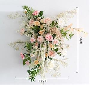 Image 4 - Пользовательские свадебные арки Декор цветочный композиция стол цветочный шар центральные Цветочные Вечерние сцены на открытом воздухе компоновка цветка стены
