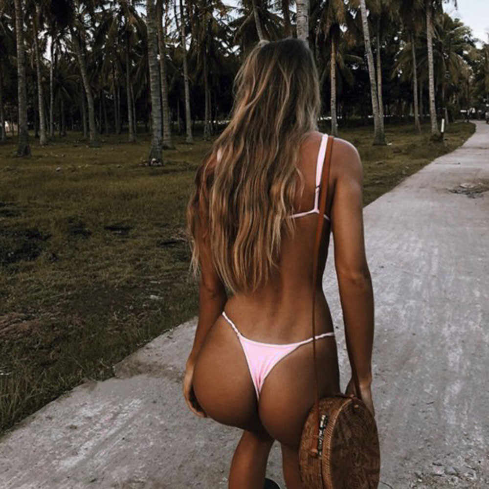 2020 セクシーな tバックマイクロビキニ女性水着ソリッドプッシュアップ水着女性ビキニセットブラジル biquini ビキニ mujer ピンク