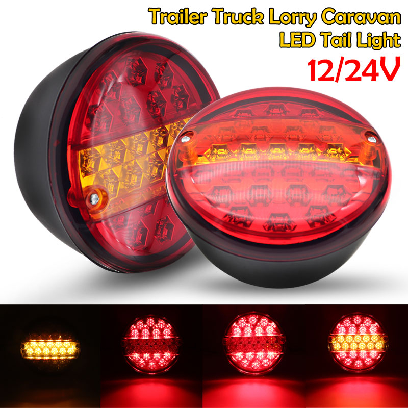 2pcs 12V 24V Universial 20 Led Car Tail Trailer Lights Truck Caravan Taillight Rear Brake Stop Indicator Turn Signal Lamp Round