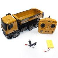 Oyuncaklar ve Hobi Ürünleri'ten RC Kamyonlar'de HUINA oyuncaklar 1573 1/14 10CH alaşım RC damperli kamyonlar mühendislik inşaat araba uzaktan kumandalı araç oyuncak RTR RC kamyon için hediye erkek
