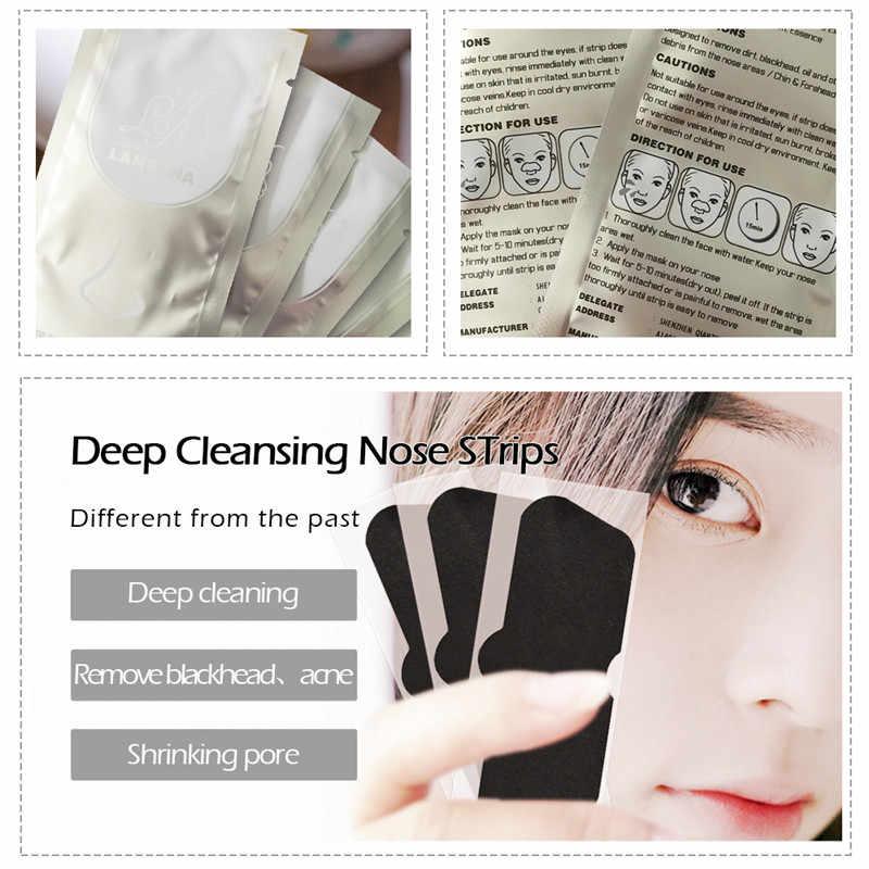 Do oczyszczania porów 1 sztuk nowy środek do usuwania zaskórników lanbena maska nosowa leczenie trądziku porów Strip czarna maska Peeling urządzenie do usuwania wągrów