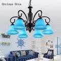 Mittelmeer Kreative Blau Glas Kronleuchter wohnzimmer esszimmer schlafzimmer Europäischen-stil pastoralen gemalt FÜHRTE Kronleuchter
