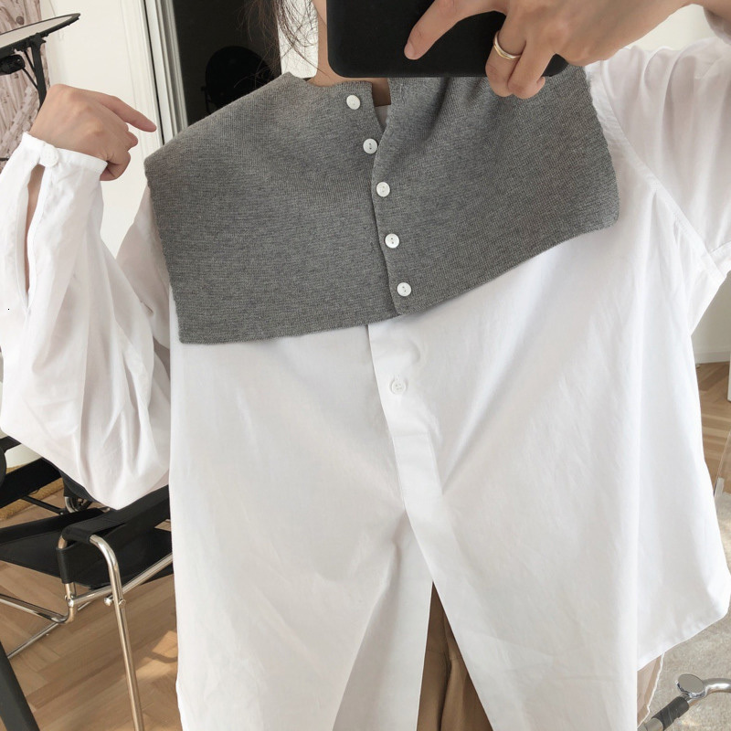 LANMREM 2020 New Fashion Spring Vintage Style Korean Solid Color Button Fake Collar Simple All Match Small Women's Shawl AI760