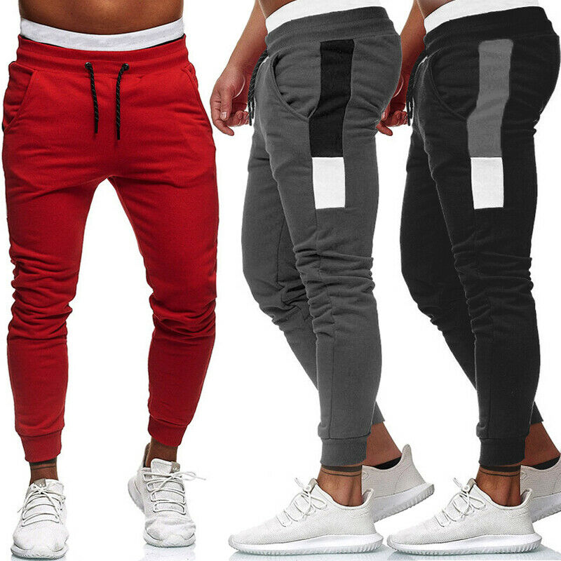 Men's Track Pants Slim Cuff Trousers Sport Tracksuit Casual Plain Black Grey Red