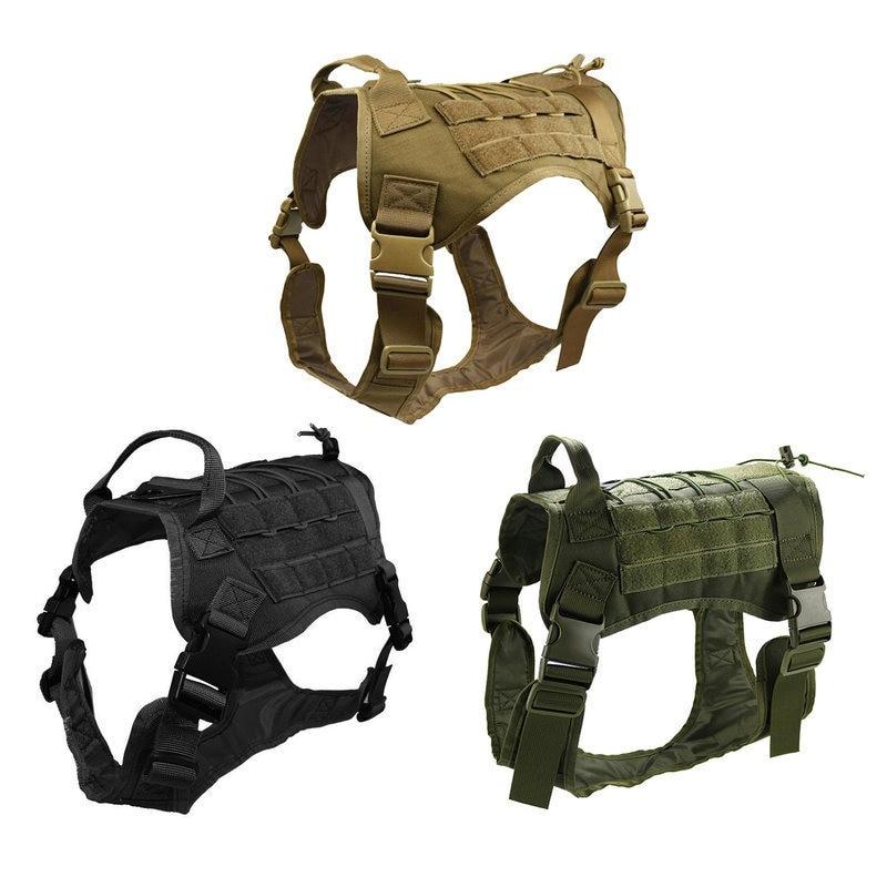 Chaleco de caza táctico perro arnés Modular sin tirar frontal Molle Clip aplicación de la Ley K9 Cannie DE TRABAJO Chaleco táctico de gran raza para perros, equipo táctico para fanáticos del ejército, ropa para perros, correas de pecho K9