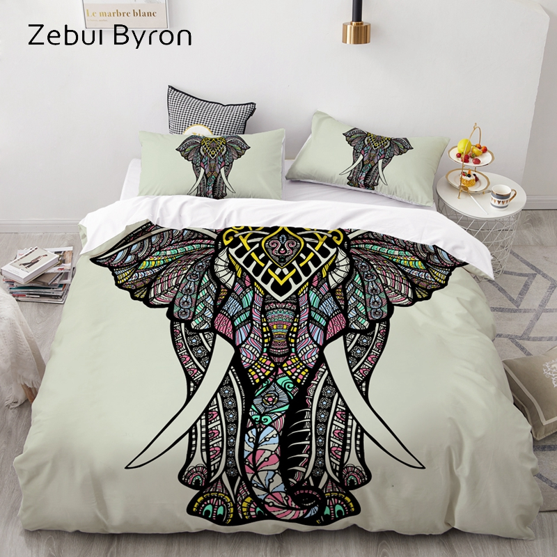 3D Bedding Set Custom/USA Queen/King/Europe,3PCS Duvet Cover Set,Quilt/Blanket Cover Set,Bed Set Elephant ,drop Shipping