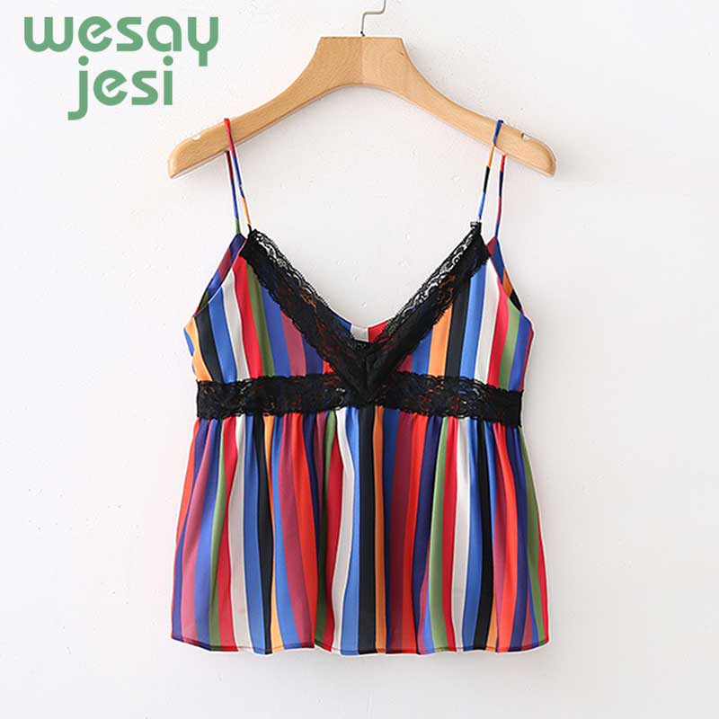 Women Sexy Tops For Women Spliced Lace Cropped tops 2019 new Summer Striped Halter Spaghetti Strap Top blusa in Blouses amp Shirts from Women 39 s Clothing