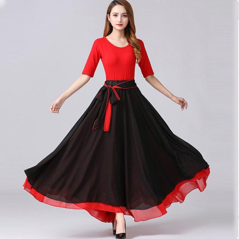 2021 Flamenco Skirt Women Performance Costume Spanish Bullfight Outfit Swing Skirt Party American Clothing Ballroom Dancewear