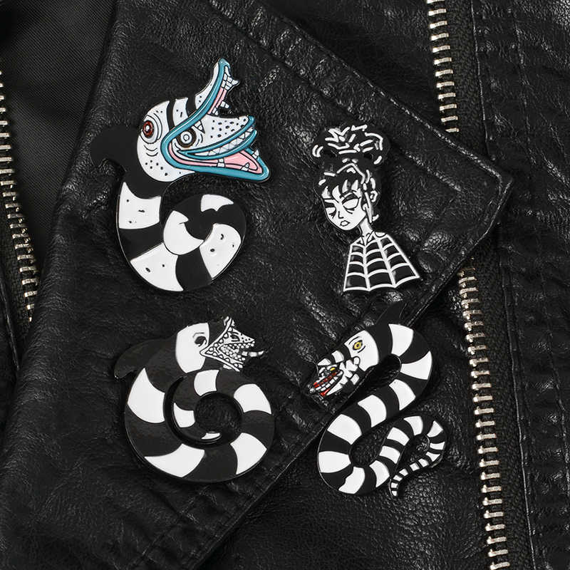 Monster Sandworm Enamel Pins Punk Classic Movie Beetlejuice Brooches Badges Bag Accessories Lapel Pins Jewelry Gifts For Friends