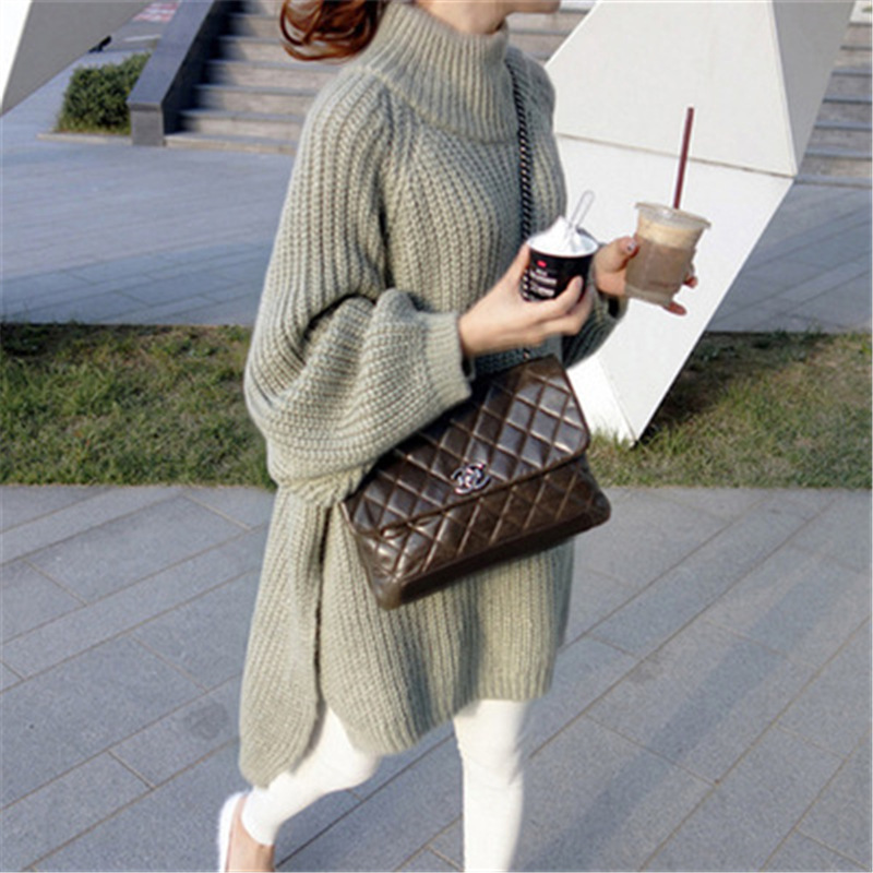 Autumn Winter Thick Long Sweater Women Lantern Sleeve Side Slit Half Turtleneck Sweaters Pullovers Oversized Pull Hiver Femme