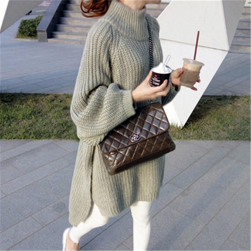 Oversized Sweater Autumn Winter Thick Long Sweater Women Lantern Sleeve Side Slit Half Turtleneck Sweaters Pullovers Pull