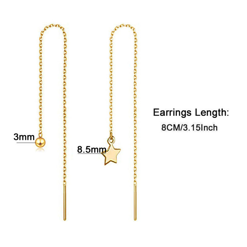 Stainless Steel Crystal Ball Star Drop Earring Long Chain Tassel Earrings For Woman Threader Earrings Wedding Jewelry