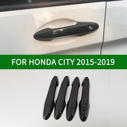 For Honda CITY 2015-2019 Honda Ballade Grace Black Carbon Fiber pattern Door Handle Cover Bezel Trim  2016 2017 2018
