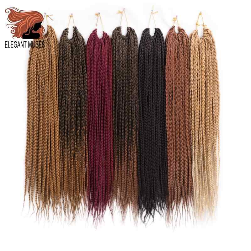 ELEGANT MUSES Micro Box Braids Hair Extensions Crochet Box Braid 22strands Ombre Synthetic Hair  20inch