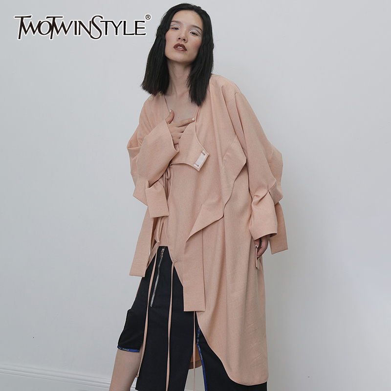 TWOTWINSTYLE Casual Irregular Trench Coats For Women O Neck Long Sleeve High Waist Asymmetrical Coat Female Clothing Fashion