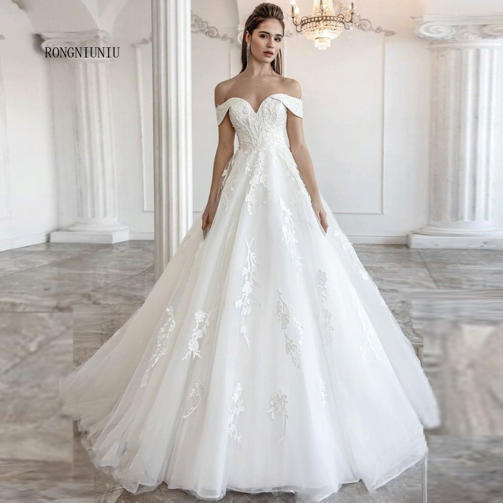 Wedding Dresses Off The Shoulder Lace Up 2020  Vestido De Noiva Tulle Appliques V-neck Bride Gowns