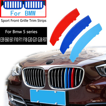 For BMW Series 5 E39 E60 E61 F10 F11 F18 G30 G31 G38 F07 E34 F12 F20 G20 520 525 530 540 528 I LI M Car Front Grille Trim Strips image
