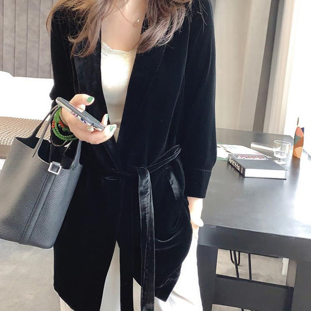 Peonfly New 2020 Autumn Women's Velvet Blazers Jacket with Sashes Female Notched Outerwear Office Ladies Coat Loose Black Blazer 1