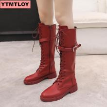 Fashion knee high boots womens winter thick heels long round head knight ladies black white red