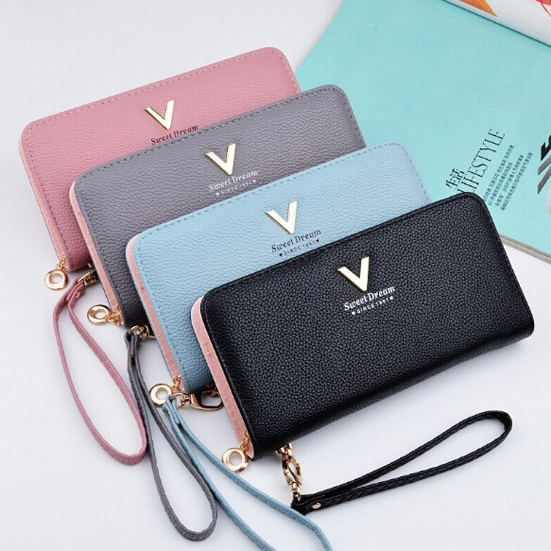 V Letter Wristband Women Long Clutch Wallet Large Capacity Wallets Female Purse Lady Purses Phone Pocket Card Holder Carteras