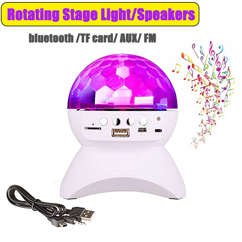 Rechargeable Wireless Bluetooth Speaker Stage Lights RGB LED Crystal Ball Effect Light DJ Disco Party Lighting USB /TF/FM Radio