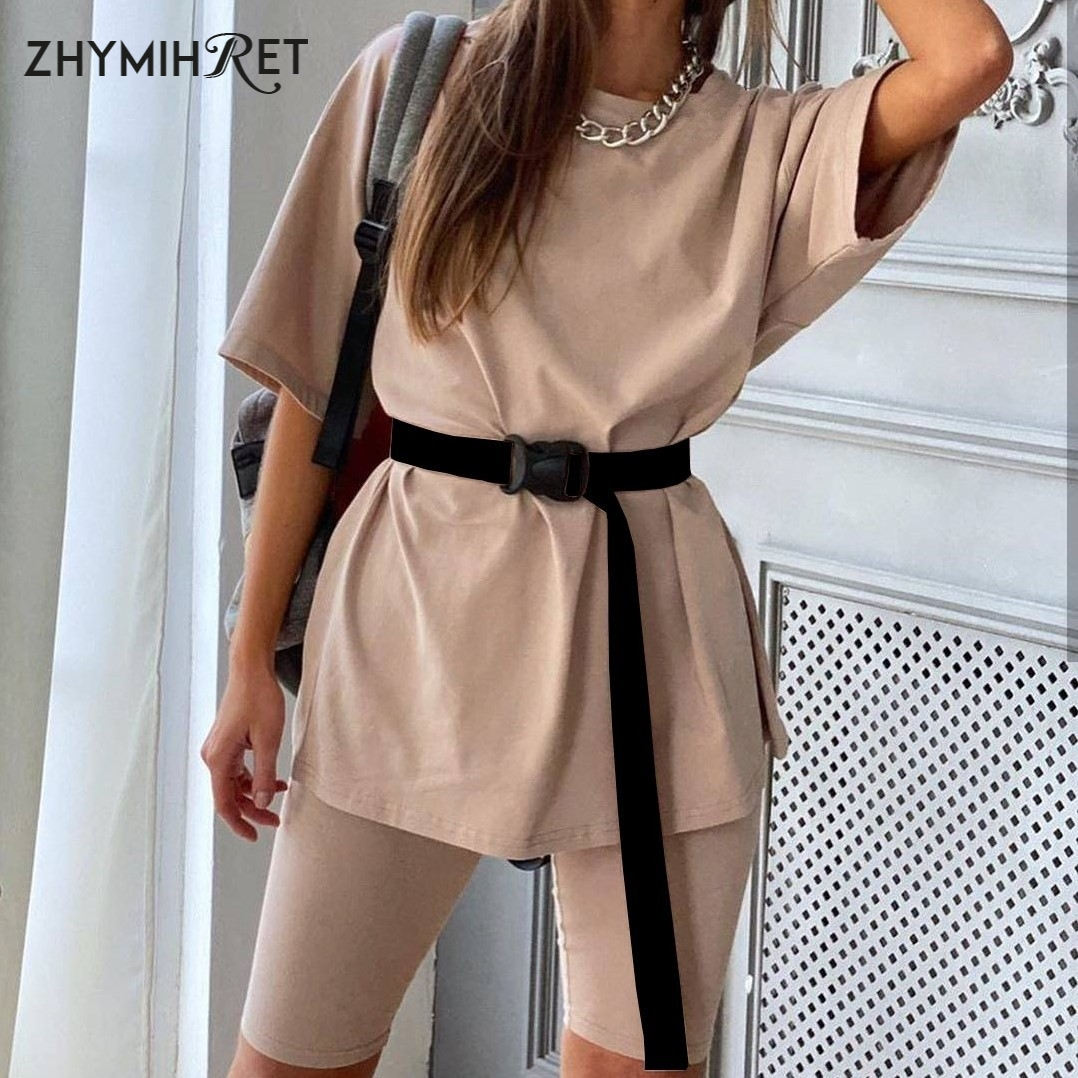 ZHYMIHRET Casual Sashes T Shirt  And Biker Shorts Two Pieces Set Women 2020 Summer 2 Piece Set With Belts Household Clothing