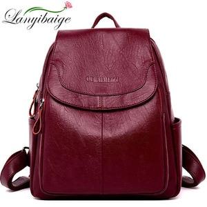 Image 1 - LANYIBAIGE Women Leather Backpacks Female Shoulder Bag Ladies Bagpack Vintage School Bags For Girls Travel Back Pack Sac A Dos
