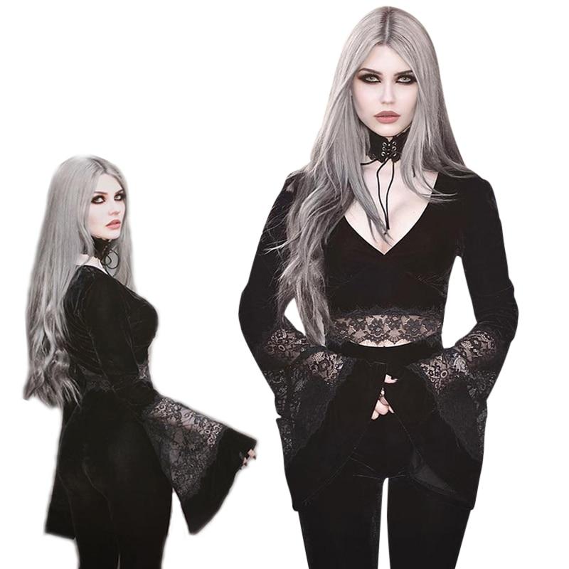 Imily Gothic Halloween Crop Top Women Flare Sleeve Deep V Neck Lace Patchwork Velvet Ruffle Sweatshirt Femme Pullovers Autumn