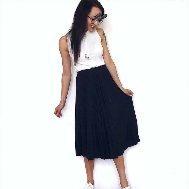 Women Skirt Streetwear Elascity Long High-Waist Casual Summer Femme Spring Pleated Faldas