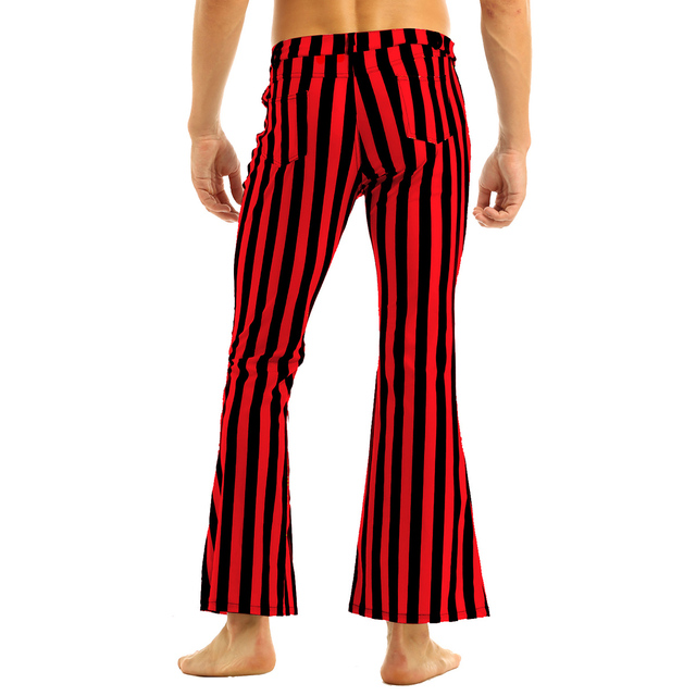 Halloween Party Costume for Men Vintage Stripe Pant Male Long Pant Stretch Bell Bottom Trousers Western Streetwear Clothes Homme 4