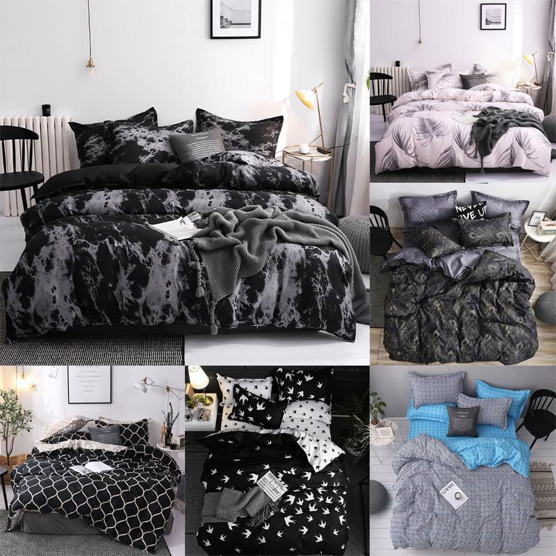 J 5 Simple Bedclothes Quilt Cover Pillowcase Three Piece Bedding Set With Pillow Case Single Double
